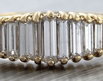 Brilliant 14K Yellow Gold 0.85ctw Baguette Diamond Ring 3.2 Grams