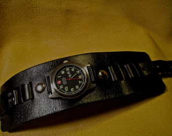 Custom black leather watchband