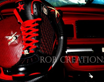 """Custom made Betty Boop Boots """"Crystallized. Size 9.5 (one of a kind)"""