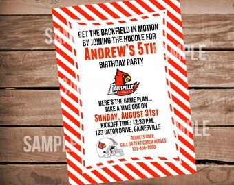 Louisville Cardinals Football Birthday Party Invitation with Stripes