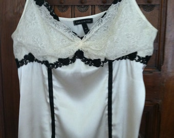Ivory and Black Lace Camisole