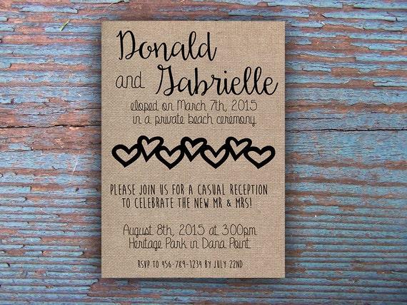 Elopement Wedding Invitations: Printable Elopement Reception Invitation By