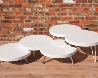 circle tables    coffee tables   lounge tables   white gloss tables-Orbis Range