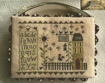 "NIKYSCREATIONS ""A Sampler Farm"" | Primitive Cross Stitch Sampler Pattern | Alphabet, Sunflower, Farm House, Chickens"