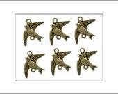 10 Bird Connectors, Antique Bronze finish, vintage style, bird charms, metal birds, jewellery making, jewelry making, UK seller