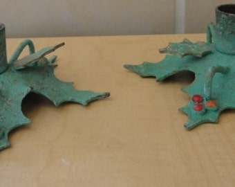 Two Vintage Metal Holly Leaf Christmas Candlestick Holders