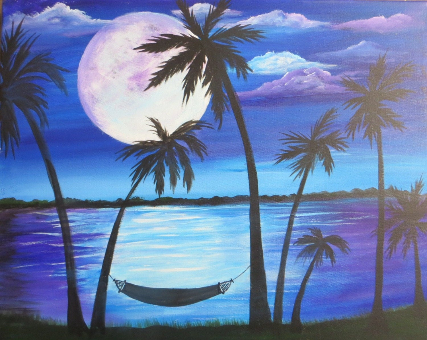 Palm trees full moon hammock painting 16 x 20 acrylic on for Painting palm trees