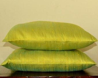 Spring green with Cyan pure Dupioni silk cushion cover / sham 18 X 18 - code 277