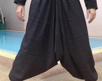 Mens Baggy Pants - Harem Pants - Good Quality Cotton - Made to Fade. Black stripe.