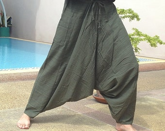 Mens Baggy Pants - Harem Pants - Good Quality Cotton - Made to Fade. Olive Green stripe.