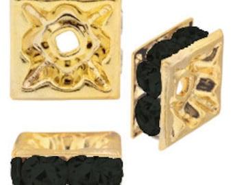 4mm Beadelle Gold/Jet Squardelles (72 pcs)