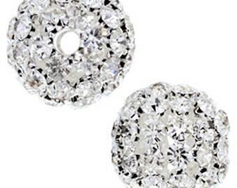 25mm Beadelle Silver Crystal Rhinestone Balls (1 piece)