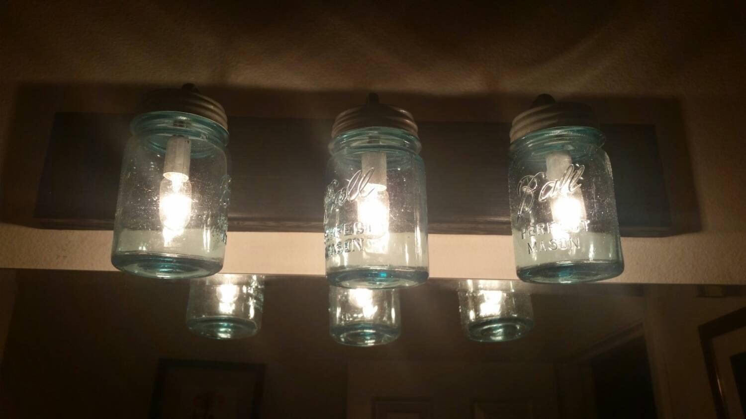 24 Vintage Mason Jar Vanity 3 Light Clear or Blue
