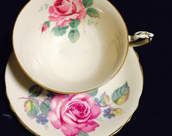 Large Rose Teacup and Saucer