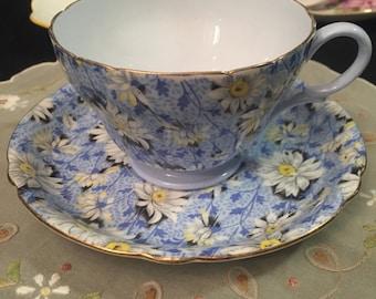 Shelley Chintz Blue Daisy Teacup and Saucer