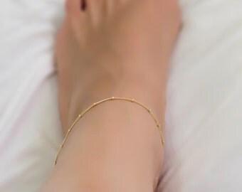 Delicate Gold Anklet - Anklet, ankle bracelet,Satellite,Simple Delicate Anklet,gold ankle bracelet, minimal bracelet