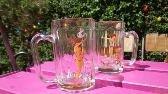 2 bikini girls half pint glass drinking jar by. Black Bedroom Furniture Sets. Home Design Ideas