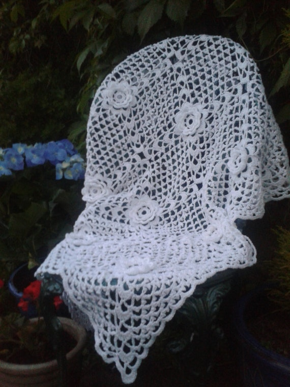 Crochet Patterns Christening Shawls : Crochet Pattern Irish Rose Shawl Christening Baptism