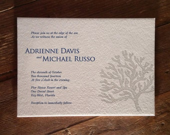 Coral Letterpress Invitation DEPOSIT