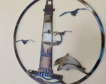 Lighthouse Ocean Scene w/Dolphins Metal Wall Art Decor