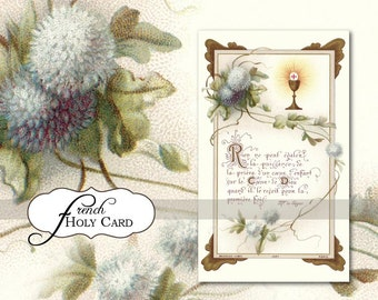 Digital French Antique Holy Card - 1st First Communion - Printable Vintage Image - Religious Spiritual - Instant Download Clip Art (EPH5)