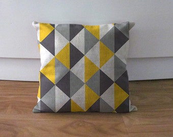 Grey and yellow triangles cushion cover, decorative pillow case,accent geometric pillow cover,geometric pillowcase,housewarming sofa decor