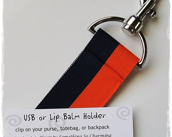 USB or Lip Balm Holder- chapstick- 28034-Orange and Navy
