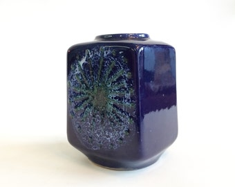 Mid Century West German Pottery Indigo Vase by Strehla