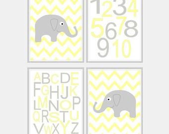 Yellow and Grey Nursery Elephant Print - Baby Boy Elephant Nursery Art Alphabet - Grey and Yellow Elephant Baby Girl Nursery Art - Pick Size