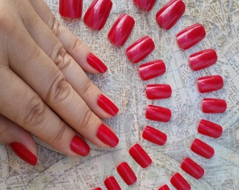 24 Short Red Nails - Press on Nails - Glue on Nails - Blood Red Goth Vampire Nails - Short Nails - Square Tip Nails