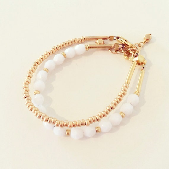 White + Gold Bracelet Stack | White + Gold Beaded Stacking Bracelet Set for Baby Toddlers Girls Adults, Gold + White Mommy and Me Bracelets