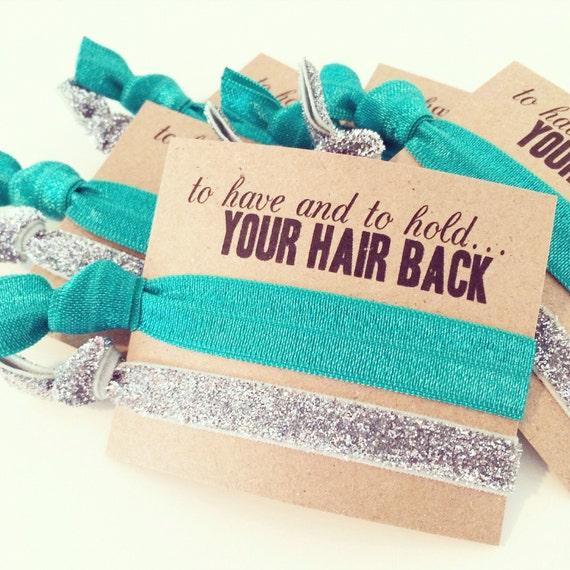 Hair Tie Bachelorette Favor // Teal + Silver Glitter Elastic Hair Tie Bracelet, Hair Tie Bracelet Favor, Custom Bachelorette Party Favor
