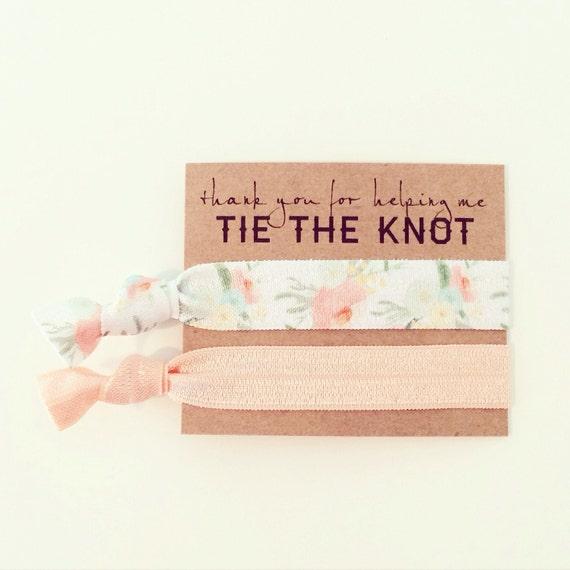 Peach Floral Hair Tie Bridesmaid Gift | Peach Floral Hair Tie Bridal Shower Favors, Bridesmaid Gift Hair Ties, Peach Wedding Shower Favor