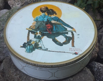 Vintage Norman Rockwell Metal Tin - Limited Edition Series 1986