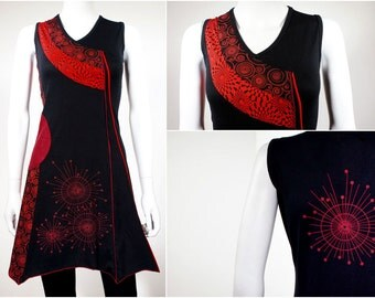 Edgy tunic dress with graphic prints - 100% cotton - RATA