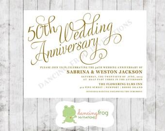 50th wedding anniversary invitation printed anniversary invitation by dancing frog invitations - 50th Wedding Invitations