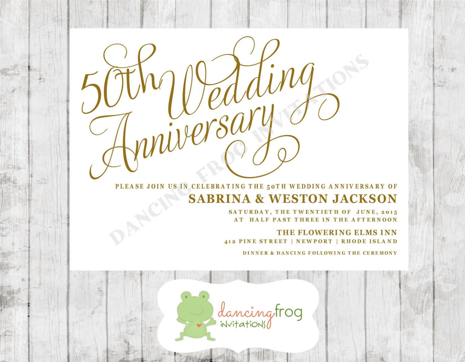 Frog Wedding Invitations: 50th Wedding Anniversary Invitation Printed By