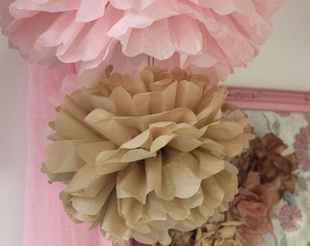 5 medium Tissue PAPER POM POMS set - wedding decorations birthday baby mobile pompoms hanging balls craft supplies paper 17 colors