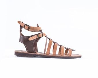 Gladiator-Genuine Greek Leather Sandal - Andromeda -Dark Brown leather shoes