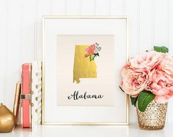 Alabama State Art Printable Alabama State Art Print Alabama Map Alabama Wall Art State Map Printable Home Wall Art Faux Gold Foil Printable