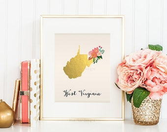 West Virginia State Printable Art West Virginia Art Printable West Virginia Map Printable Faux Gold Foil Printable Wall Art Housewarming