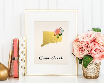 Connecticut State Art Printable State Wall Art State Map Print State Printable Art Connecticut Printable Home Wall Art Faux Gold Foil Print
