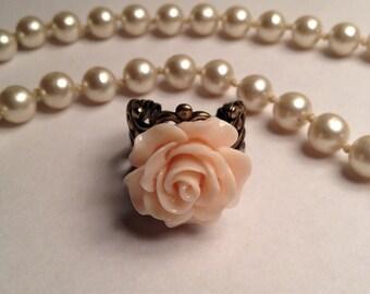 Beautiful Ivory Rose Filigree Ring