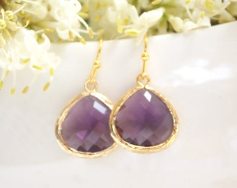 Wedding Jewelry, Bridesmaid Jewelry, Amethyst Earrings, Purple, Tanzanite, Bridesmaid Gifts,Drop, Gold, Dangle, Wedding Gifts,Teardrop,Gifts