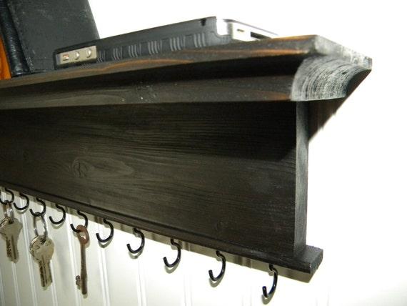 Key Holder Wall Shelf Rustic Wood By Barretthillwoodcraft