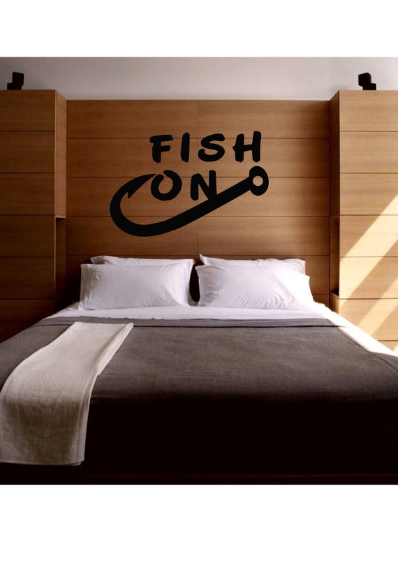 Fish on fishing wall decal love decor home house by for Fisherman home decor