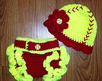 Newborn 0-3 months Crochet Baby Girl Softball Hat with Matching Ruffle Diaper Cover