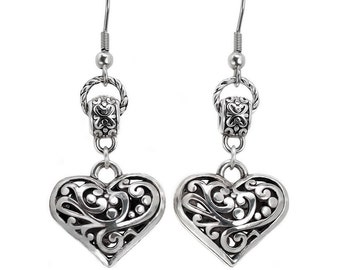 Filigree Heart Charm Dangle Drop Earrings With Stainless Steel Fish Hook Ear Wires