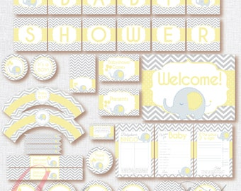 Babyshower Elephant Party Package. Instant download. Printable. Boy Babyshower.Yellow and gray babyshower.Gray chevron and yellow babyshower