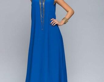 Oversized Maxi Cobalt Blue Dress,Summer Chiffon Sundress Assymetrical.